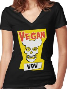 Veganism isn't a Horror Business Women's Fitted V-Neck T-Shirt