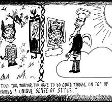Gadafi in Hell Jobs in Heaven cartoon by bubbleicious