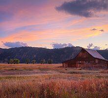 Old barn at sunset by Jennifer Bailey