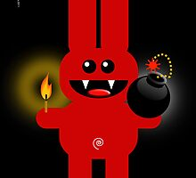 RABBIT 4  (Cute pet has a bomb and its alight!) by peter chebatte