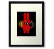 RABBIT 4  (Cute pet has a bomb and its alight!) Framed Print