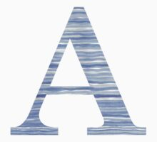 Letter A Blue Watercolor Stripes Monogram Initial Kids Tee