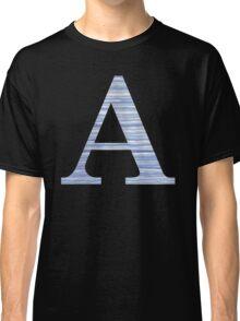 Letter A Blue Watercolor Stripes Monogram Initial Classic T-Shirt