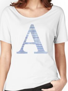 Letter A Blue Watercolor Stripes Monogram Initial Women's Relaxed Fit T-Shirt