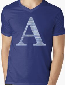 Letter A Blue Watercolor Stripes Monogram Initial Mens V-Neck T-Shirt