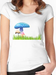 Low Poly Mushrooms Women's Fitted Scoop T-Shirt