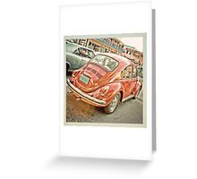 V Dub red bug Greeting Card