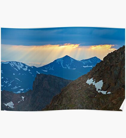 God Rays On Gray Wolf Mountain Poster
