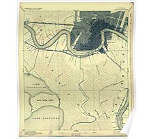 Vintage 1891 map of New Orleans Poster