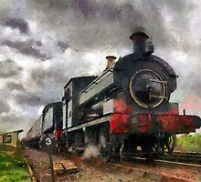 Steam train passing by buttonpresser