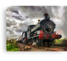 Steam train passing Canvas Print