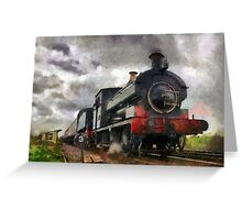 Steam train passing Greeting Card