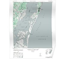 Vintage Map of Kure Beach and Fort Fisher North Carolina Poster