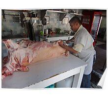 Butcher at the farmers market in Puerto Vallarta Poster