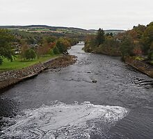 Pitlochry - A view over the dam, opposide side by Dawn (Paris) Gillies