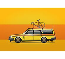 Yellow Volvo 245 Wagon With Roof Rack and Vintage Bicycle Photographic Print