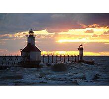 Sunset on Lake Michigan at St Joseph North Pier - 10 Photographic Print