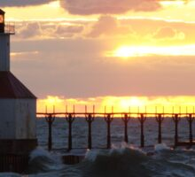 Sunset on Lake Michigan at St Joseph North Pier - 10 Sticker