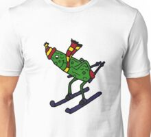 Cool Funny Pickle is Snow Skiing Unisex T-Shirt
