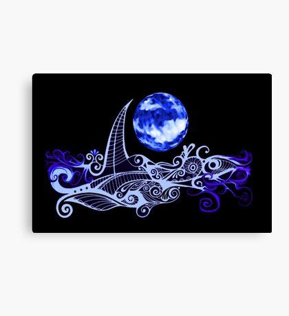 Card - Lunar Sailing - Ultramarine Canvas Print