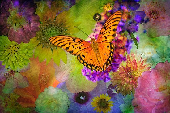 Butterfly amid the Blossoms by Bonnie T.  Barry