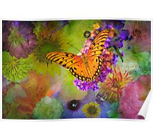 Butterfly amid the Blossoms Poster