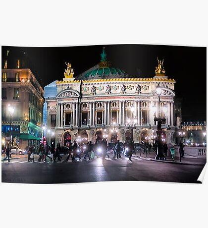 Paris Opera - Palais Garnier at Night Poster