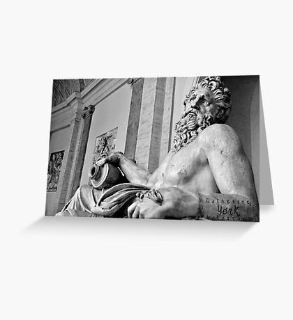 B&W sculptures outside the Vatican 2 Greeting Card
