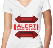 RED ALERT: Star Trek and Beyond Women's Fitted V-Neck T-Shirt