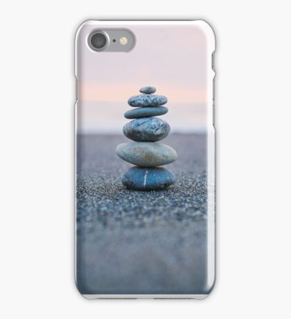 Rock stack on the beach at sunset iPhone Case/Skin