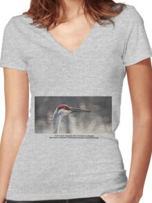 Crane Head Women's Fitted V-Neck T-Shirt