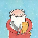 Santa Claus with Kitty Cats  by Zoe Lathey