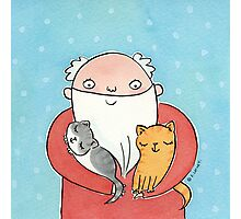 Santa Claus with Kitty Cats  Photographic Print