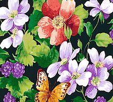 Flowers Butterflies  iPhone 4 & 4s Case by purplesensation