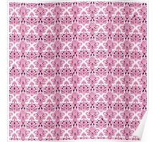Vintage chic girly pink white floral damask  Poster