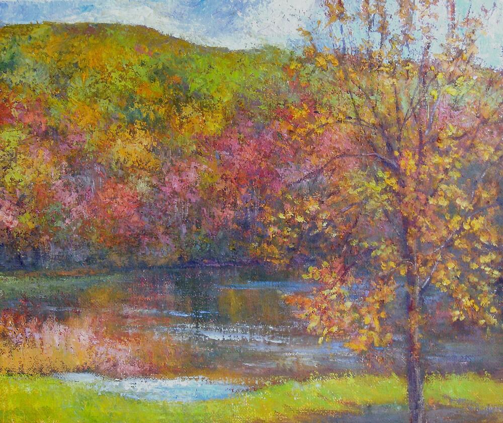Mountain lake in fall by Julia Lesnichy