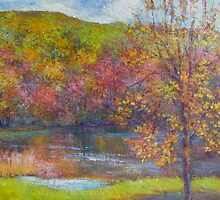 Mountain lake in fall by Julia Lesnichy