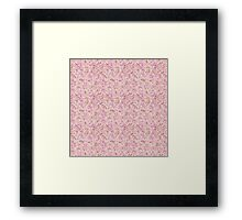 Chic vintage pink brown retro flowers pattern Framed Print