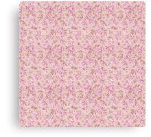 Chic vintage pink brown retro flowers pattern Canvas Print