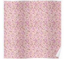 Chic vintage pink brown retro flowers pattern Poster