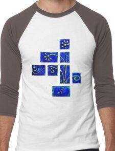 Tshirt - Abstract Blue Floral Men's Baseball ¾ T-Shirt