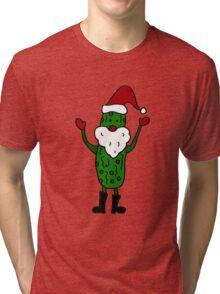 Funny Cool Pickle Santa Claus ChristmasArt Tri-blend T-Shirt