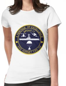 """USS Hornet CVS-12 """"Official"""" Apollo 11 Recovery Crest Womens Fitted T-Shirt"""