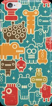 Robots on blue. by Ekaterina Panova