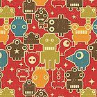 Robots on red. by Ekaterina Panova