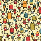 Robots retro doodles. by Ekaterina Panova