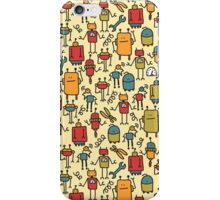 Robots retro doodles. iPhone Case/Skin