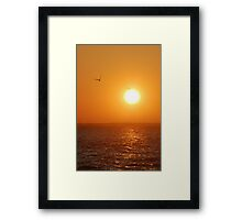 Lagoon in sunrise, and two gulls Framed Print