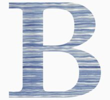 Letter B Blue Watercolor Stripes Monogram Initial Baby Tee