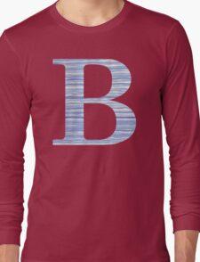 Letter B Blue Watercolor Stripes Monogram Initial Long Sleeve T-Shirt
